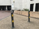 These bolt-in bollards are mostly to keep cars from driving in pedestrian areas. W 21st St, Austin, TX.